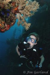 Heather on the YAMAGARI MARU. Chuuk by Jim Garland
